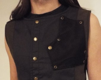 Black and Dark Olive Cyberpunk Industrial Rivethead waistcoat / vest with front pocket