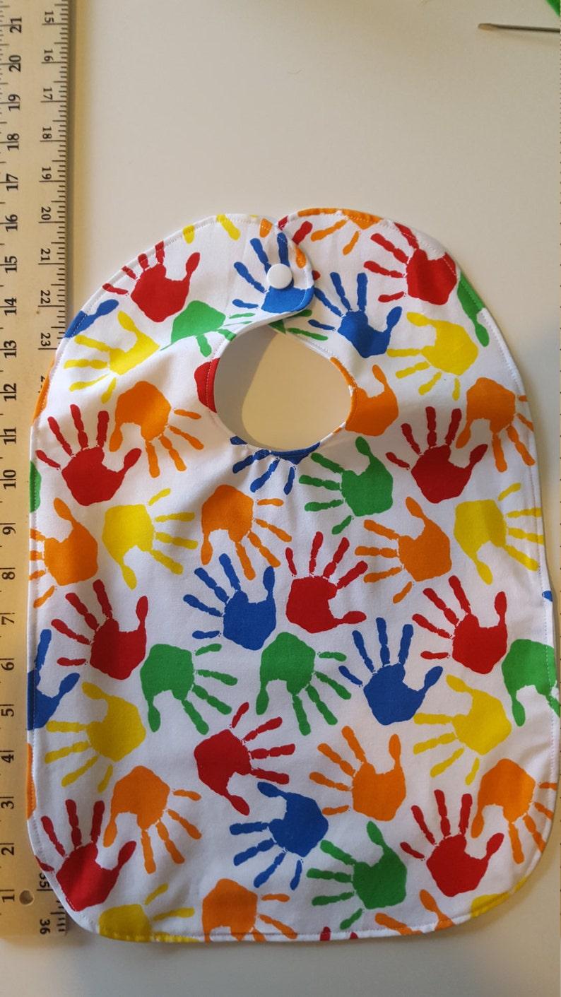 Toddler/Preschooler waterproof bibs  Handprints Large image 0
