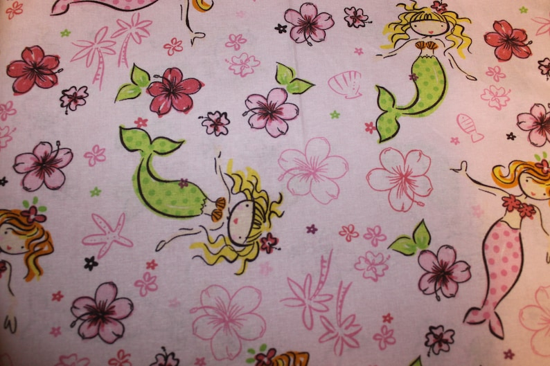 Children's Cot Sheet  Mermaids on light pink image 0
