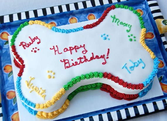 Large Nine Inch Bone Shaped Dog Birthday Cake For Dogs And
