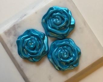 Teal Blue Shimmer Rose Flower Shaped Shea Butter Hand Soap (Set of 3)