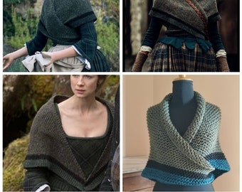 Outlander Claire shawl, series inspired shawl, Claire knitted shawl, wrap-around shawl, striped alpaca triangle. SELECT COLOR