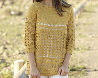 Damen Pullover Stricken Häkeln Baumwolle 34 ärmel Damen Etsy