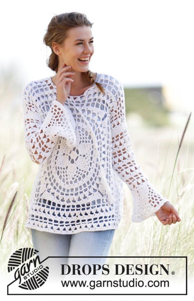 Cuadrados de crochet de las mujeres suéter tejido con patrón | Etsy