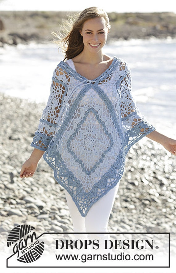 square CHOOSE SIZE swimsuit spring cover cotton Handmade granny and poncho beachrobe poncho summer summer outfit woman COLOR Crochet x6TSXwq