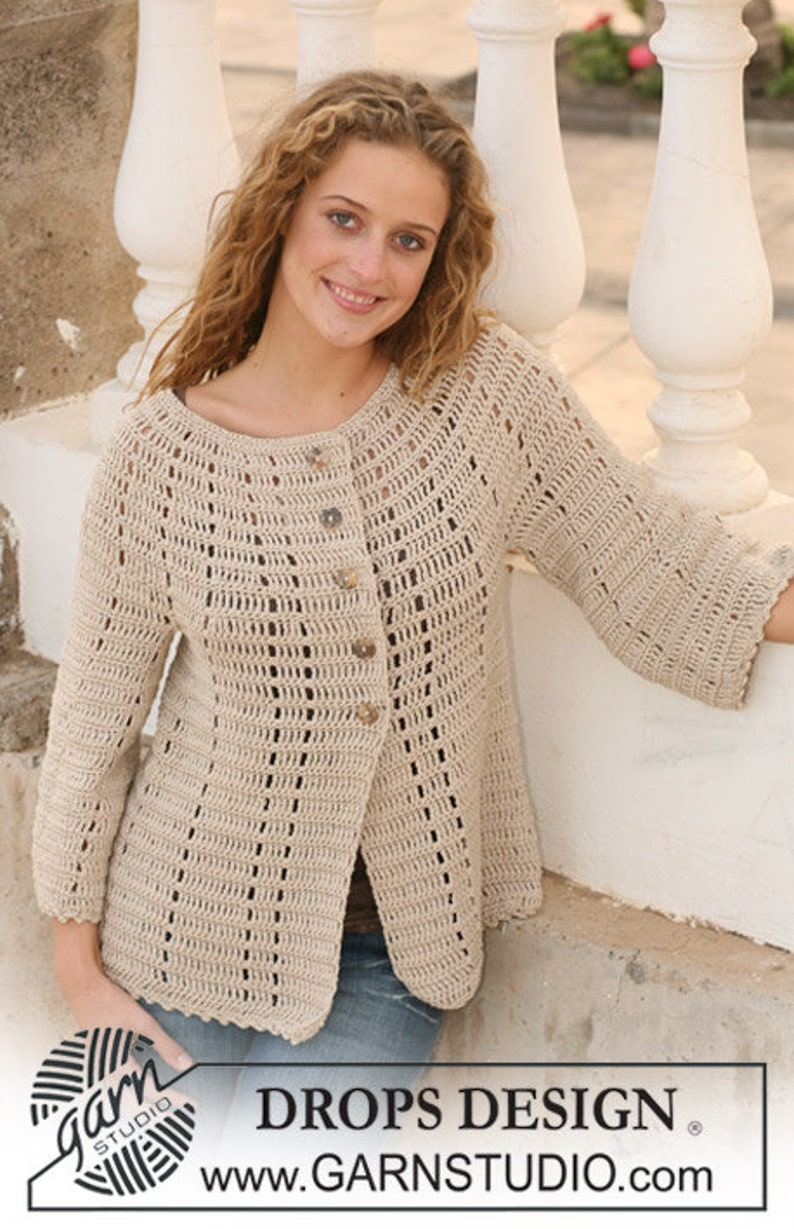 Giacchetto Donna Uncinetto Cardigan In Cotone Manica 34 Etsy
