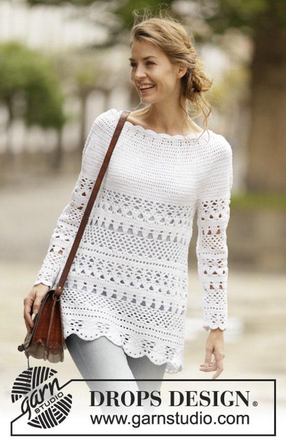Damen Pullover Häkeln Baumwolle Und Polyester Langarm Etsy
