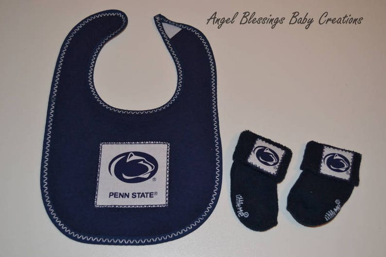 Penn State Baby Socks 0-6 Months Size Made To Order in Gray Navy Blue or White with Team Licensed Fabric Appliques Gender Neutral Socks