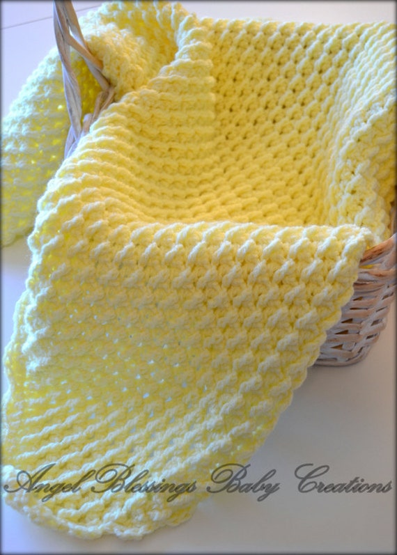 Crocheted Yellow Scalloped Baby AfghanChristening BlanketInfant ThrowCrib Cover