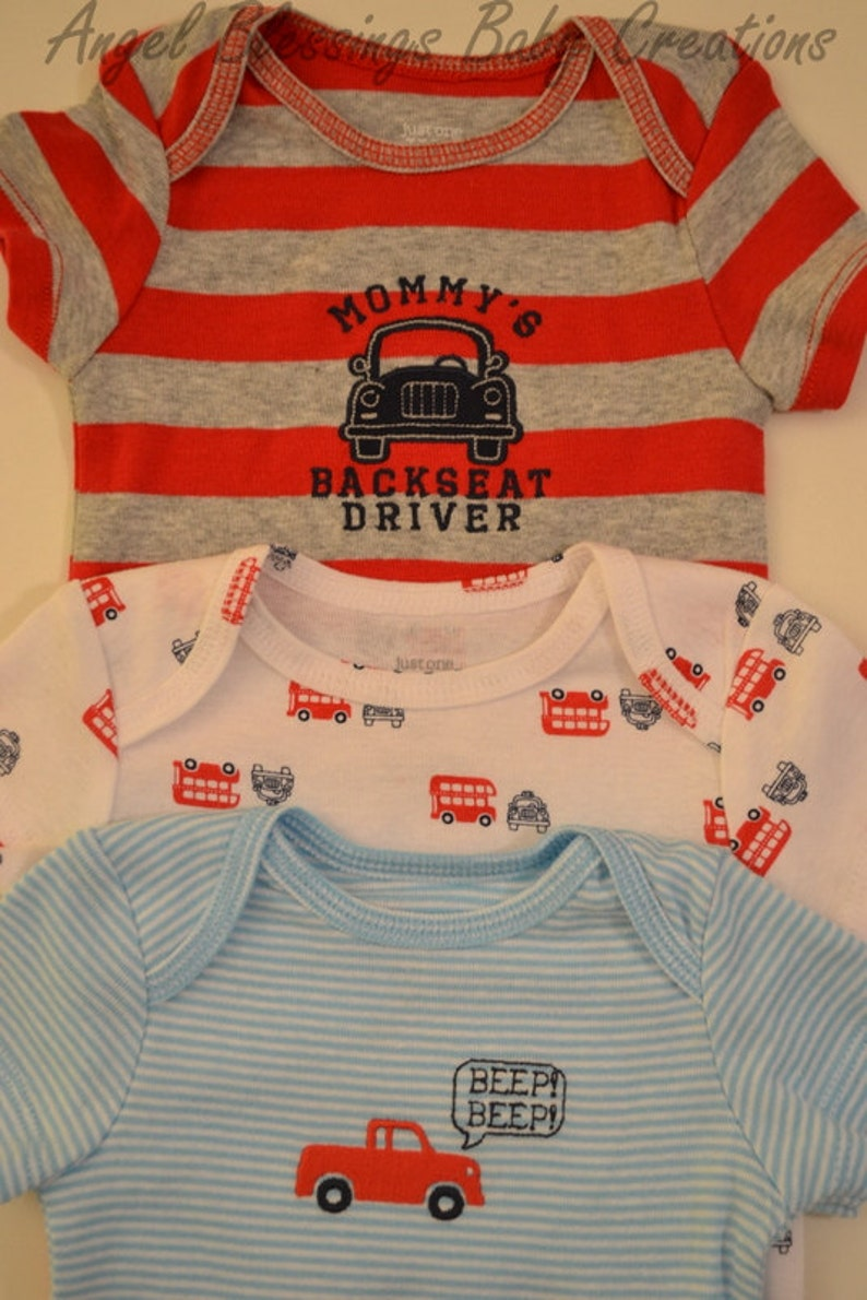 Mommy/'s Backseat Driver Clothing Cupcake Gift Set Car Prints Baby Boy Bodysuits 6 Months Size Unique Baby Shower Welcome Baby Home Present