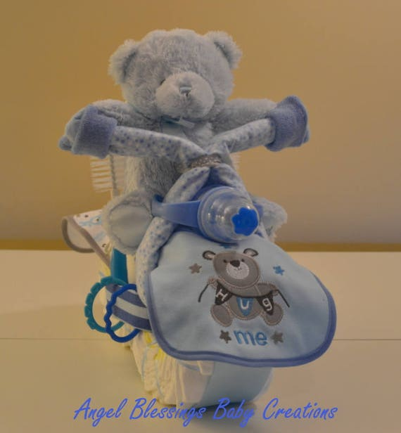 Diaper Motorcycle Teddy Bear Baby Shower Centerpiece Baby Etsy