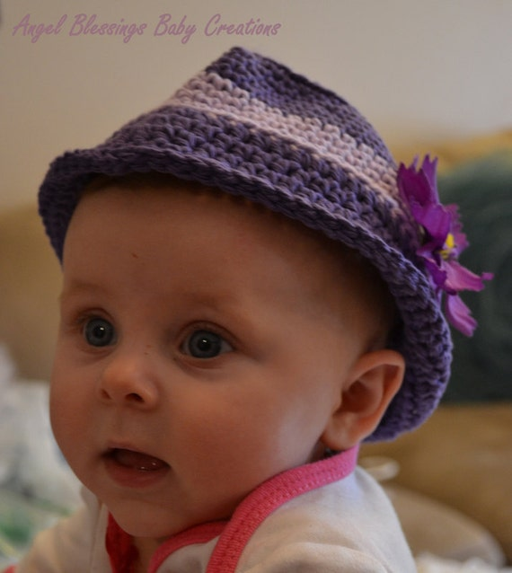 Baby Girl Fedora Hat Photo Prop Crocheted Hat Unique Fedora  27a23759d1be
