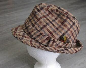 Vintage Brown Tweed Fedora Wool Hat - Size 7 1 4 549c844e0ad8