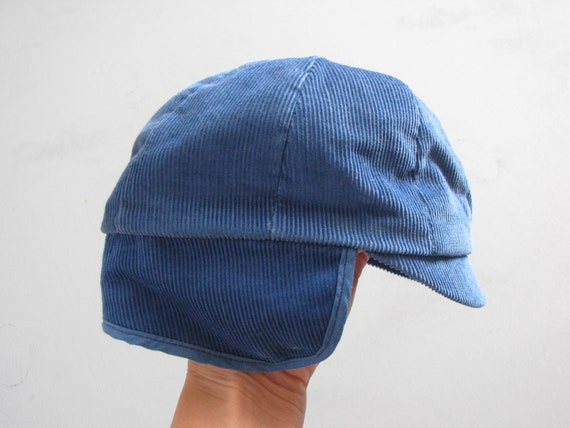Vintage Blue Corduroy Baby Winter Hat with ear flaps  4355302bf29