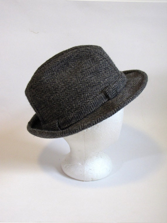 Vintage Gray Tweed Fedora Mens Hat Size 7 1 8  329f22c529c