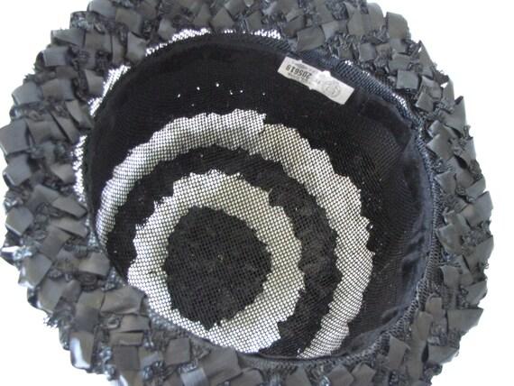 Vintage Black & White Summer Straw Hat - image 5