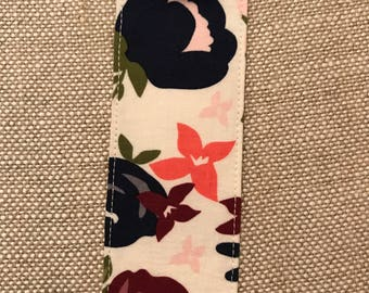Blue and Maroon Flowers Book Hugger Bookmark