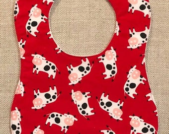 Baby Bib in Red Pigs