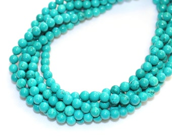 6mm Green/Blue Dyed Howlite Gemstone for Mala and Jewellery Making 16 Inch Strand, Approx 65 Beads