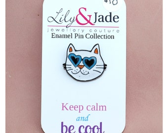 White Cool Cat Enamel Pin with heart glasses on Gunmetal Backing Brooch