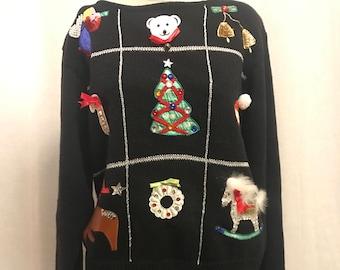 Cute// ugly christmas sweater//work in progress//reindeer//sweater//angel//candycane//santa