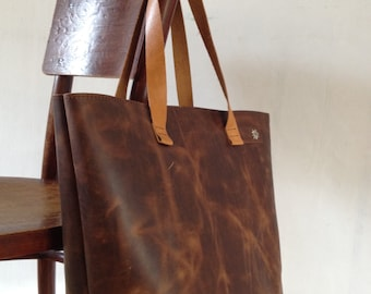 Handmade leather shopper bag with pocket-hand made leather Tote bag