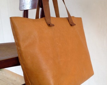 Leather Shopper bag with pocket-hand made Leather Tote bag