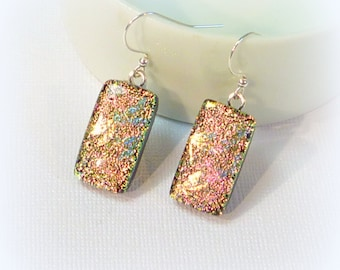 Dichroic Glass Earrings Dragonfly Pink French Wire