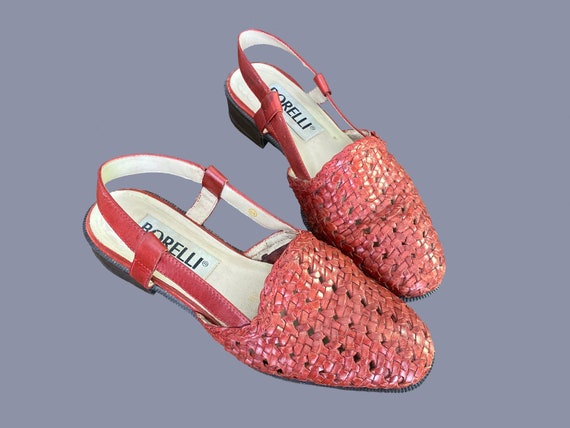 Vintage • Woven Leather Huarache Slingback Sandals