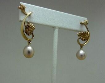 Handmade Leaves and Pearls Dangle Earrings