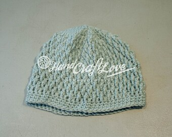 Ready to Ship: Textured Hat in light blue - Adult Size Winter Beanie Hat