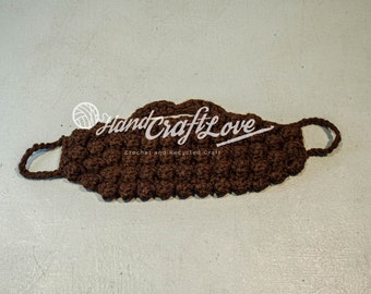 Made to order: Crochet beard, adult size. Perfect for your beardless guy, friend or family member