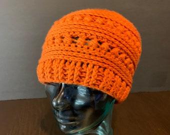 Ready to Ship: Crochet Orange Bead Stitch Winter Hat Unisex