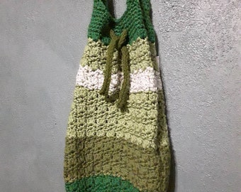 Green unique cross body bag, market bag in block colors green and white