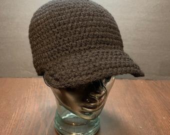 Men size brim crochet cap beanie