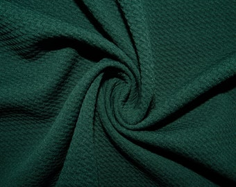 3ed5198a109 Hunter Green #30 Bullet Ribbed Scuba Techno Double Knit 2-Way Stretch  Polyester Lycra Spandex Apparel Craft Fabric 58