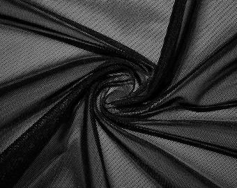 ad250cb5876 Black Power Mesh Nylon Lycra Spandex 4 Way Stretch Apparel Fabric Craft  Costume Sports Jersey Dance Swimsuit 58