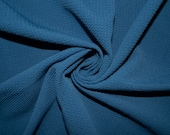 Denim Blue 148 Bullet Ribbed Scuba Techno Double Knit 2Way Stretch Poly Lycra Spandex Apparel Craft Fabric 58 quot -60 quot Wide By The Yard