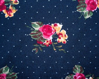 """Navy Floral Polkadot #05 Techno Crepe Scuba Double Knit 2-Way Stretch Polyester Spandex Apparel Craft Fabric 58""""-60"""" Wide By The Yard"""