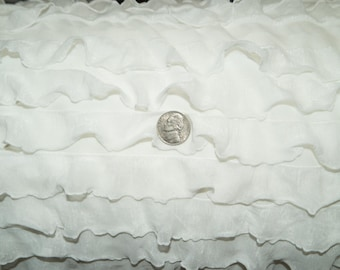 """White 1"""" Ruffle Knit Polyester Spandex Lycra Stretch Apparel Craft Fabric Skirt Dress 52""""-54"""" Wide By The Yard"""