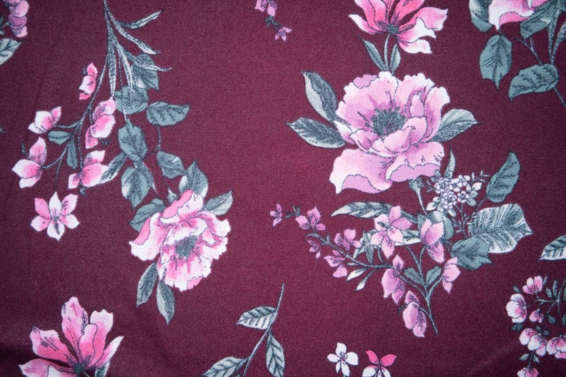 Maroon Floral #04 Techno Crepe Scuba Double Knit 2-Way Stretch Polyester Spandex Apparel Craft Fabric 58-60 Wide By The Yard