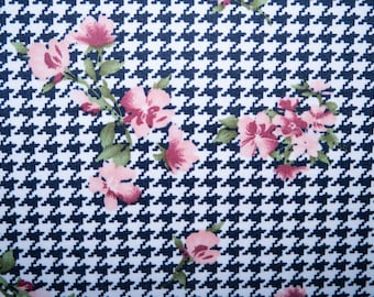 """Navy Floral Houndstooth #02 Techno Crepe Scuba Double Knit 2-Way Stretch Polyester Spandex Apparel Craft Fabric 58""""-60"""" Wide By The Yard"""