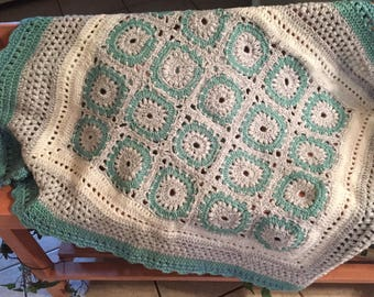 Turquoise and Gray Medalion Afghan