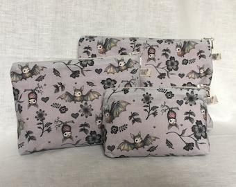 Wee Bat Handmade Zipper Pouch Makeup Bag in Various Sizes