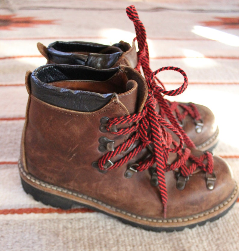 vintage hiking boots  leather hiking boots  red lace hiking boots  size 9 12 boot