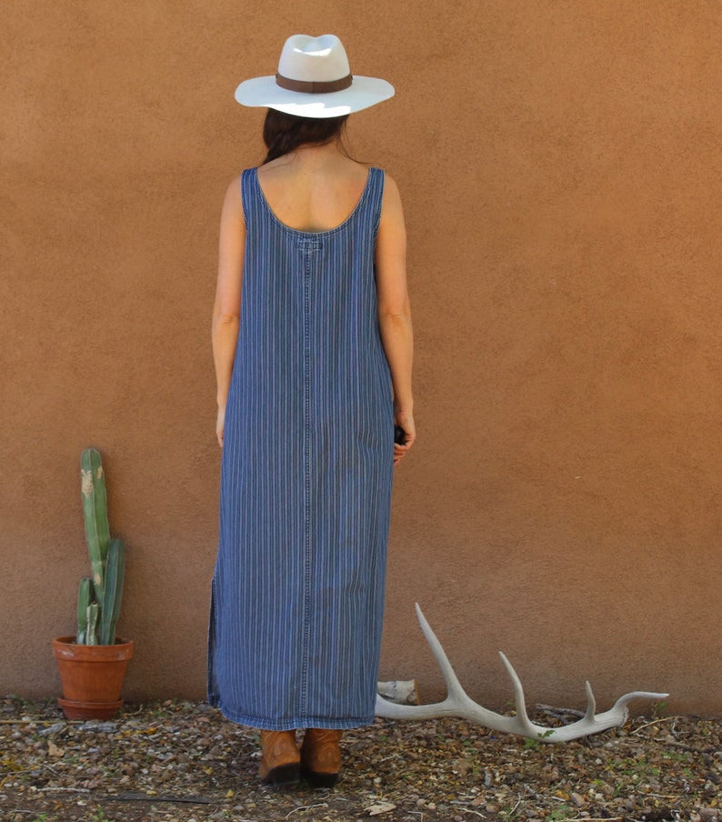 stripped denim overall dress  button down jean dress  long denim dress