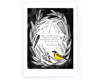 Archival Lino Cut Quote Illustration - Hope is the thing with Feathers