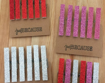 Valentine's Day Decorations, 6 Glitter Wooden Clothes Pins, Wedding Decor, Party Decor, Love Theme