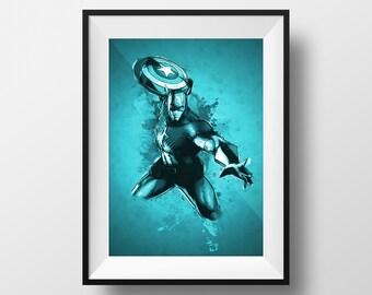 Digital Download Captain America Abstract Monochrome Color Superhero Poster Print Art - Boys Room - 8x10, 11x14