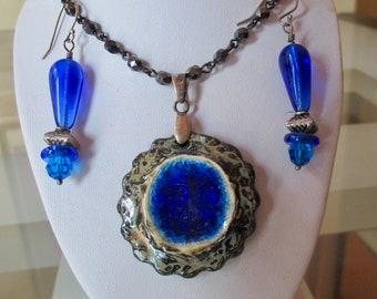 Deep Blue Sea and Earth Pendant Set